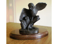 Vintage Heredities Bronze Resin Figure 'Owl and Owlets'