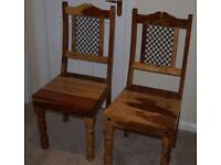Two Lovely Solid Wood Dining Room Chairs