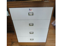 USED STURDY CONDITION, A NICE WHITE/WOOD EFFECT CHEST OF 4