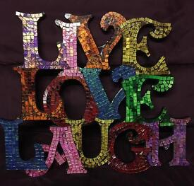 Colourful mosaic tile wall hanging