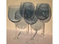 Set of 4 large blue tinted wine glasses