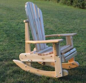 Amish Handcrafted Heavy Duty Cedar Adirondack Patio Rocking Chairs - Free Shipping