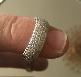 18 ct White Gold One Carat Diamond Place Band Ring (Woman's)