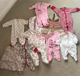Newborn baby girl bundle snowsuit, cardigan, dress and baby grows