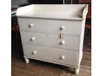 Victorian Pine Gallery Back Painted Chest Of Drawers- Shabby Chic