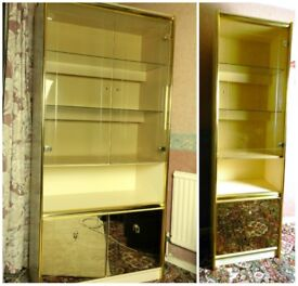 1960s cream + gold Vintage Luminaire drinks display cabinets 2 units Denmor Furniture