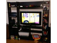 Ikea Dark Brown Tv Stand lots of shelves in very clean condition.