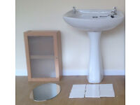 Large Bathroom Pedestal Sink -Like New! Complete - Tile Splashback, Mirror & Bathroom Wall Cabinet