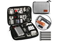 Cable Storage Bag Waterproof,Travel Case for Earphones,Chargers,Mouse,USB,SD Cards,Phones and Pads