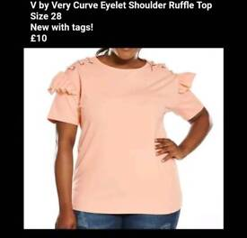 *NEW* V by Very Curve Eyelet Shoulder Ruffle Top - Size 28