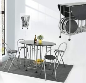 Black Foldable Butterfly Dining Table + 4 Chairs Set