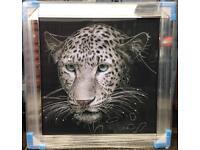 Superb leopard crystal liquid art picture