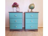 Pair of Charcoal Grey and Turquoise Bedside Chests Cabinets Tables Bedroom Furniture