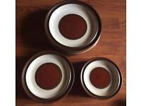 DENBY Plates 6 Of Each Size Cream Tan Rust Colour