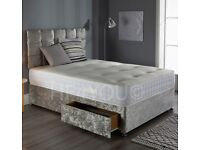 🔆 Silver and Black Crushed Velvet Divan Bed with Headboard and Mattress 🔆