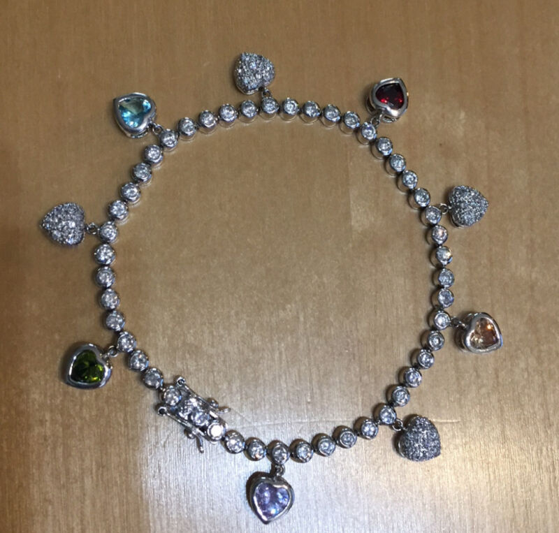 """Sarah Coventry Sterling Silver LOVABLE 7"""" Charm Bracelet with CZ, NEW"""