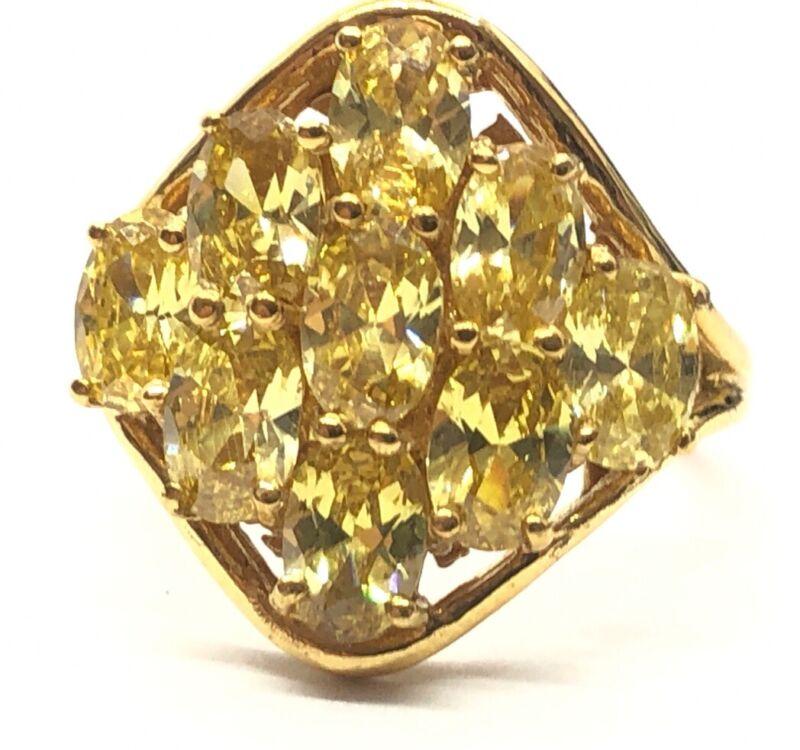 Sterling Silver Ring Size 7.5 G&B Signed Designer Gold Tone Citrine Karis Signed
