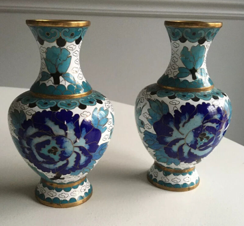 Vintage Pair Small Cloisonné Vases w/ Blue & Turquoise Peony Blossoms & Birds