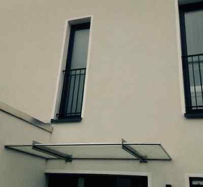 Edelstahl Vordach in RAL7016 inkl. Klarglas VSG 160cm x 40cm x 8,76mm