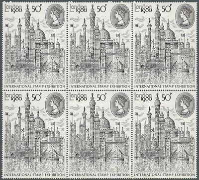 GB QEII LONDON 1980 50p BLOCK OF 6, MNH, SG1118Ea TYPE II