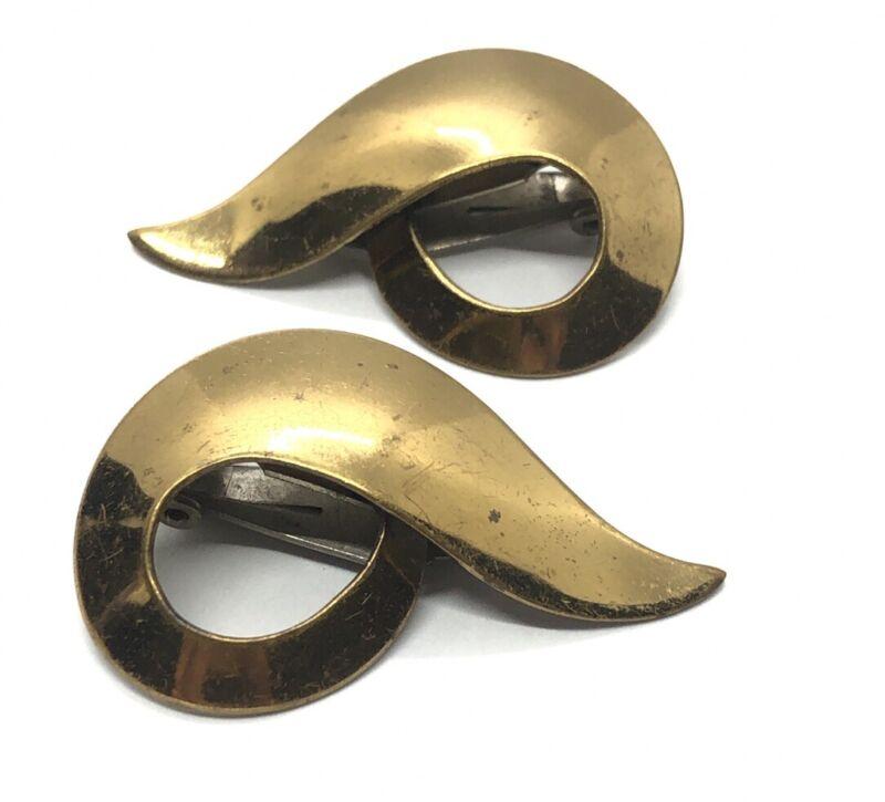 Vintage Earrings Clip On Signed Rebajes Modernist