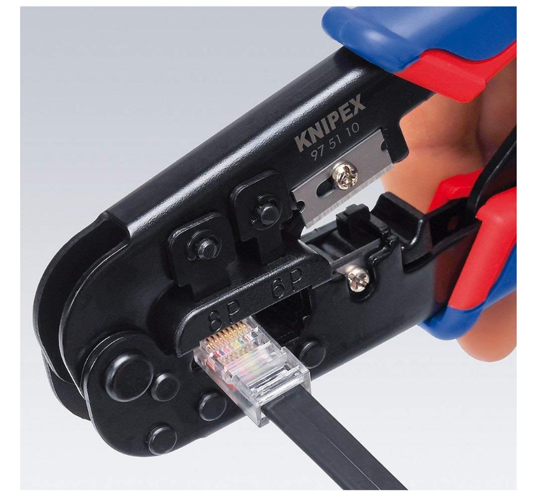 Knipex 97 51 10 Crimping Pliers RJ11 RJ45 Western Plugs KPX975110 Wire Stripper