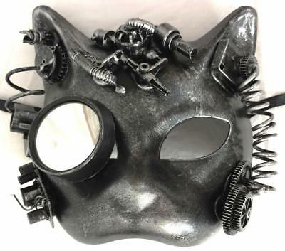 Steampunk Mask Kitty Cat Horror Halloween Sexy Gothic Industrial Costume - Halloween Costume Industry