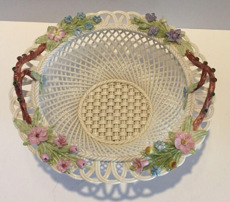 """Belleek Basket Flowers & Branch Handles 8"""" Spring Meadow D620"""