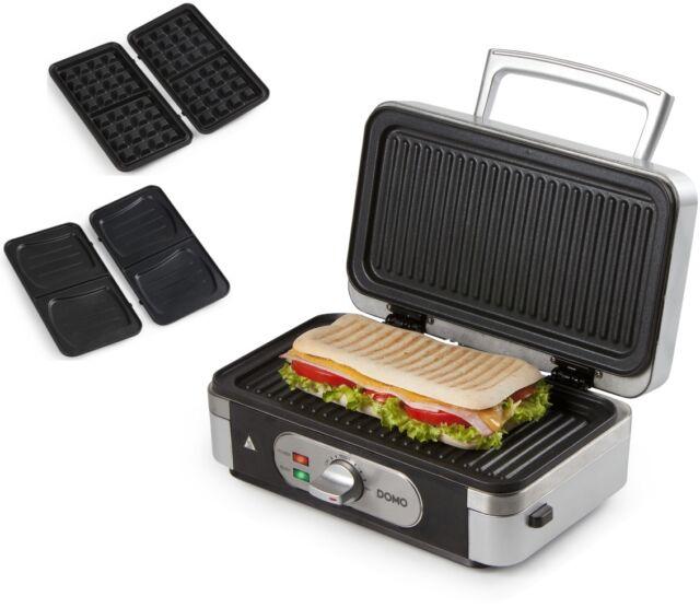 Domo Sandwichtoaster 3in1 DO-9136C Sandwichmaker Grill Waffeleisen Kontaktgrill