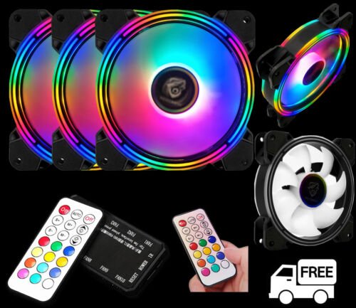 3-Pack Needmax Dual-Sided RGB LED 120mm Remote Controller Computer PC Case Fan