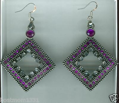 Lucky Cutout Square w/Purple & Clear Crystals Earrings, Gunmetal ~ NICE Gift! - Lucky Purple Earrings