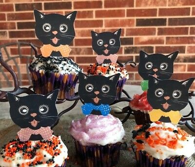 6 Handmade Halloween Cupcake Toppers,Appetizer Pick Black Cats Calico Bandanas - Handmade Halloween Decorations