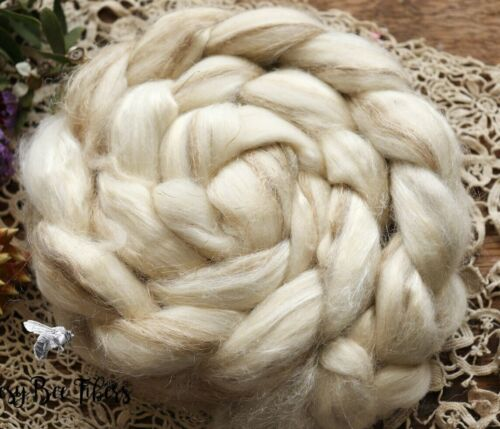 Merino Wool Roving, Tussah Silk, Flax Undyed Combed Top Blend Wool - 4 oz