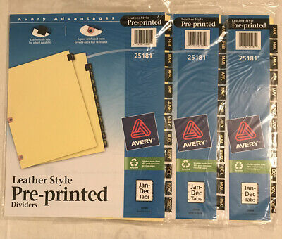 Avery 25181 Leather Style Dividers For 3-ring Binder Jan-dec Tabs Lot Of 3 New