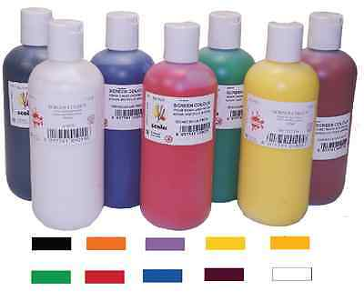 SCOLA SCREEN PRINTING INKS PAINTS 10 ASSORTED COLOURS WATER BASED 300ml BOTTLES