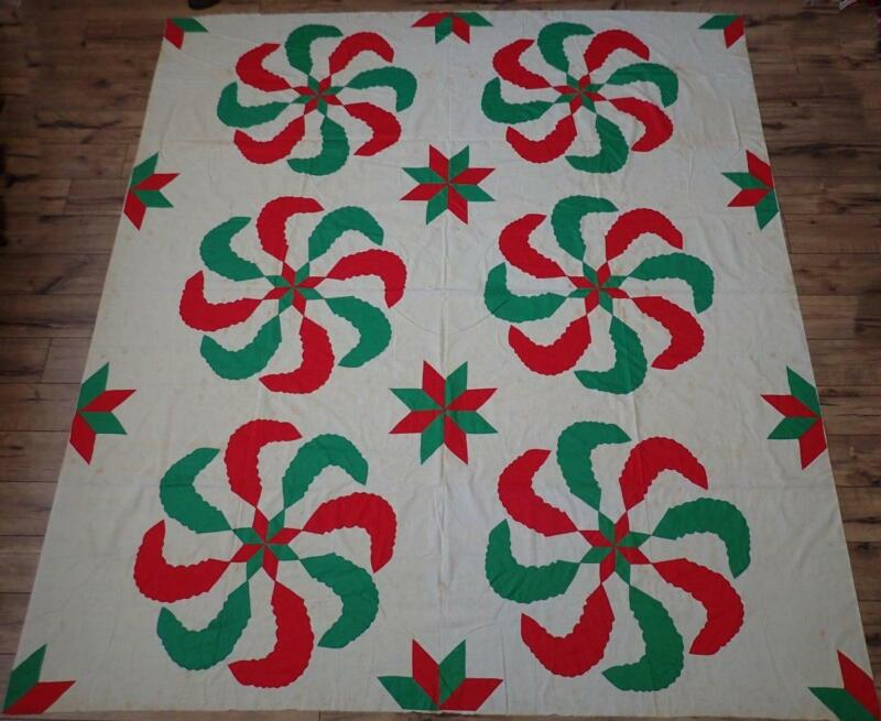 Princess Feathers! Vintage Red & Green Applique Quilt Top 87x78