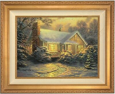Thomas Kinkade Christmas Cottage 18 x 24 LE S/N Canvas (Gold Frame) ()