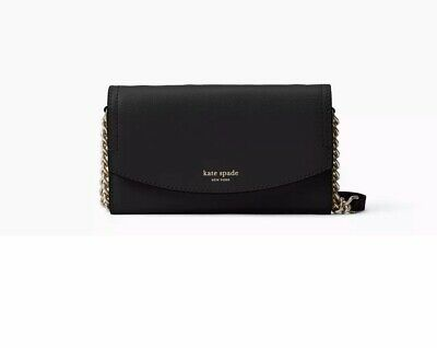 Kate Spade Eva Small Crossbody Wallet Bag Gold Chain Black Pebbled Leather