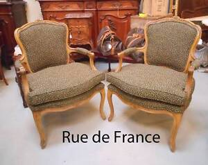 FINE ANTIQUE FRENCH CARVED BEECH ARMCHAIRS - NEW UPHOLSTERY Botany Botany Bay Area Preview