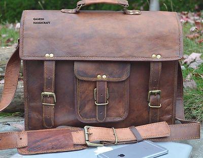 New Men's Leather Shoulder Bag Briefcase Messenger Laptop Satchel Vintage Style