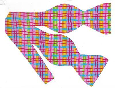 Neon Pink Bow tie / Whimsical Plaid / Pink, Green, Gold, Blue / Self-tie Bow - Neon Bow Ties