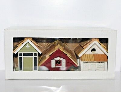 Set of 3 Wooden Birdhouse Ornaments - 2 Bird House + 1 Bird Feeder