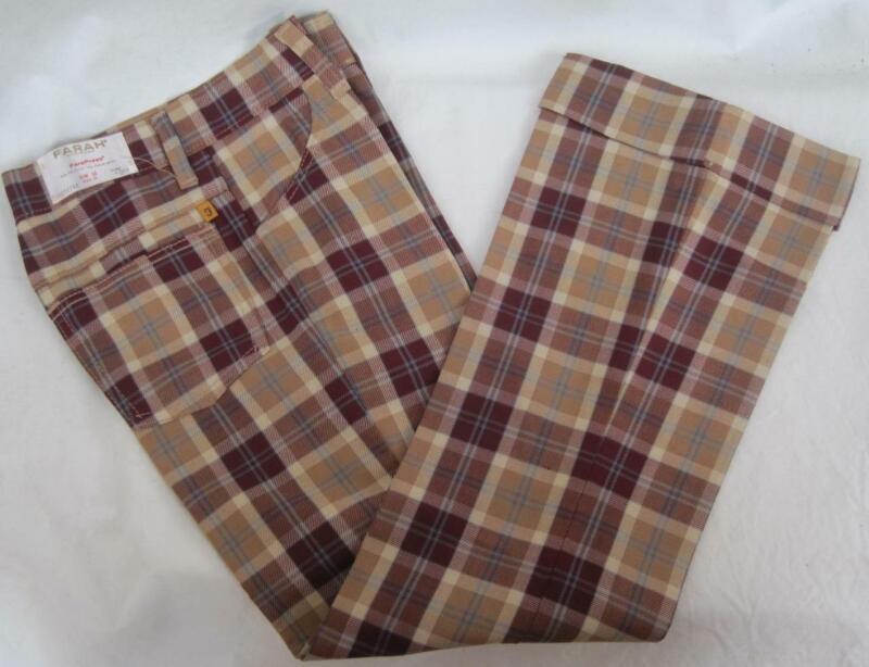 FARAH Boys PLAID Vintage Size 12 Slim 24W Flare Pants Poly Rayon Red Tan CUFF