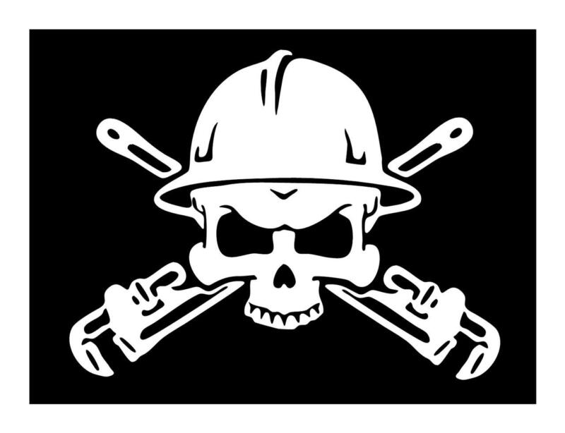 PIPE FITTER PLUMBER SKULL PIPE WRENCH BIG 8 X 10 VINYL CAR WINDOW DECAL STICKER