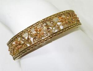 Monet Gold-tone Bangle Bracelet Crystal Accents Floral Seed Pearls Signed