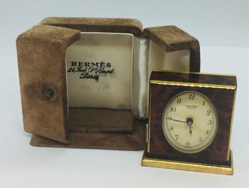 Hermes Paris Vintage Brown Lacquer Enamel Brass Travel Alarm Clock