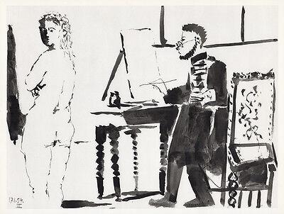 "Impressive 1954 Pablo PICASSO Human Comedie Print ""Curvy Nude Model"" Framed COA"