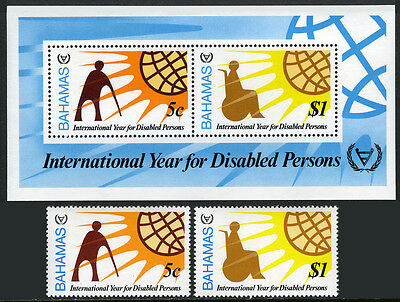 Bahamas 484-485a,MNH. Intl. Year of the Disabled.Man with Crutch,Wheelchair,1981