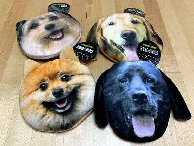 Dog Coin Purses Set of 4- NEW W TAGS- Novelty Item, Fun Gag Gift, Dog Lovers Novelty Coin Purses