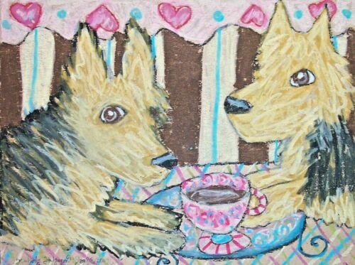 Australian Terrier Dog Art Print Signed by Artist Kimberly Helgeson Sams 5x7